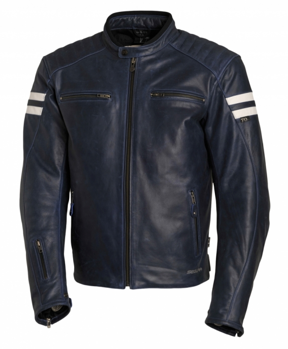 SEGURA kožená bunda Retro, BLU/WHT