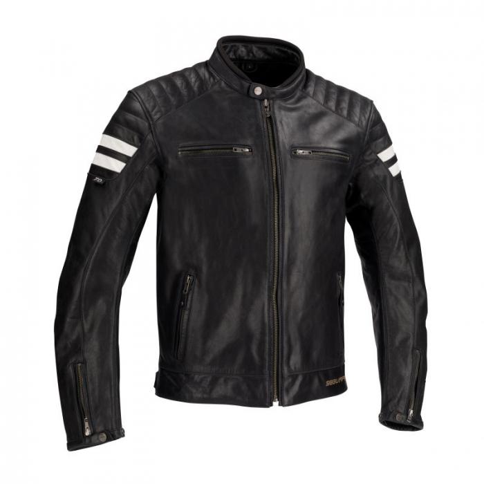 SEGURA kožená bunda Stripe, BLK/WHT